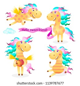 Set Cartoon Merry pegasus horse, pony for decorating your Web site design, postcards, articles, posters, illustrations in a book, a magazine.
