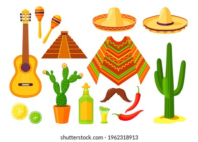 Set of cartoon Mexican traditional symbols. Flat vector illustration. Colorful collection of cacti, sombrero, maracas, guitar, poncho, maracas, pepper, pyramid. Culture, travel, Mexica concept