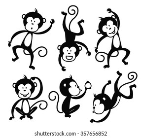 Set Of Cartoon Monkey Vector Element Suitable For Chinese New Year Event