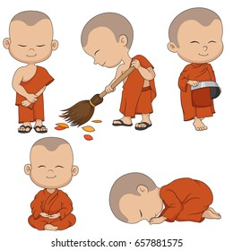 Set of cartoon monks. Vector and illustration.