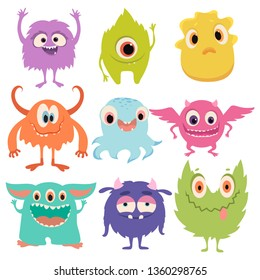 Set of cartoon monsters. Collection of happy monsters. Illustration for children. Mythical animals. Mutants. Vector art.