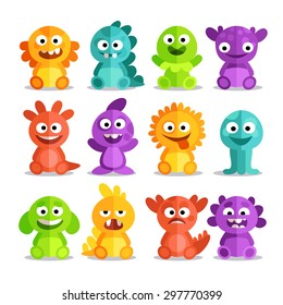 Set of cartoon monsters in a flat style. Colorful monsters with different emotions - happy, anxious, angry, surprised, foolish.