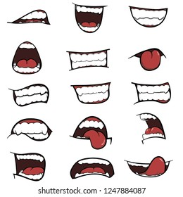 A Set of Cartoon Mouths for you Design, Different emotions of cartoon mouths