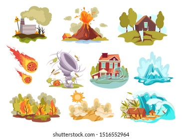 Set of cartoon natural disasters. Collection оf cataclysms volcanic eruption and snow avalanche and flood. Colored vector illustration for the children .