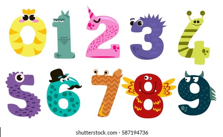 Set of cartoon numbers in flat style design. Collection of numerals for kids learning counting or mathematics. Wild monsters for children studying arithmetics.