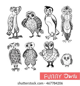 Set of cartoon owls and owlets for concept design. Isolated birds on white background.