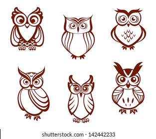 Set of cartoon owls for wisdom or education concept design. All birds are isolated on white background. Jpeg version also available in gallery