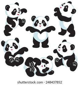set with cartoon panda bear , isolated images for little kids