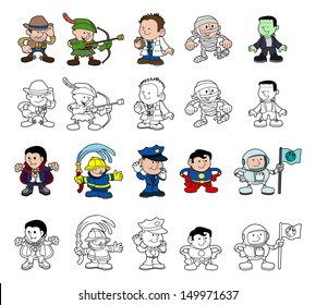 A set of cartoon people or children playing dress up. Color and black and white outline versions.