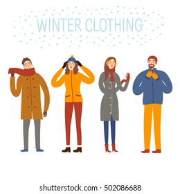 Set of  cartoon people wearing winter clothes .Seasonal illustration for your design