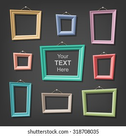 Set of cartoon picture frames. Global colors - easy to change.