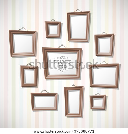 Set Cartoon Picture Frames On Wall Stock Vector (Royalty Free ...