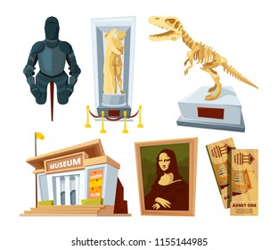 Set cartoon pictures of museum with exhibit pod and tools of various historical periods. Excursion exposition museum, exhibition composition, historical and archeology. Vector illustration