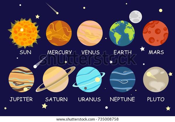 Set Cartoon Planets Solar System Planets Stock Vector