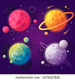 set of cartoon planets in space. vector illustration. modern design