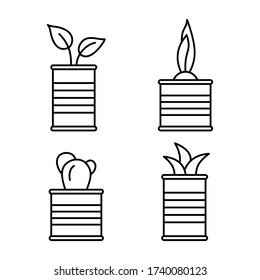 Set of cartoon plants in tin cans. Flower in corrugated metal cylindrical container. Line art growing spring sprouts in jar. Home garden illustration. Contour isolated vector icon, white background