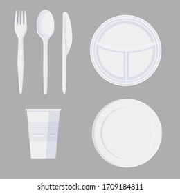 Set of cartoon plastic tableware in minimalist style isolated on white. Collection of different dishes plate, fork, knife, spoon and glass vector graphic illustration. Cooking utensil for picnic