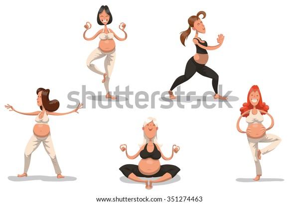 Set Cartoon Pretty Pregnant Women Doing Stock Vector Royalty Free 351274463