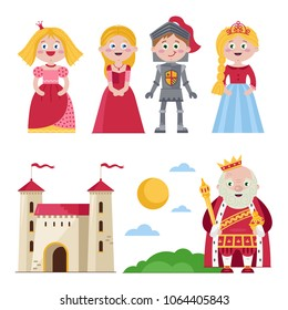 Set of cartoon princesses with knight and king near kingdom castle on white background.