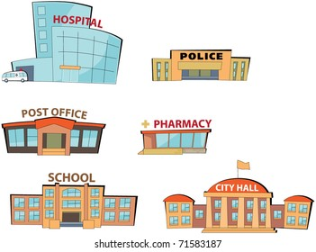 Set of the cartoon public buildings. Expansion of the series.