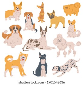 Set of cartoon purebred dogs. Funny puppies different breeds, loyal and friendly pets, domestic animals with pedigree. Flat vector illustration isolated on white background.