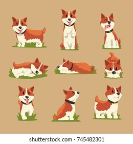 Set of cartoon red-haired corgi dogs