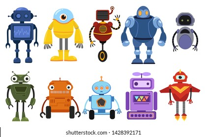Set of cartoon robots. Collection of cute retro robots. Vector illustration of robotics for children.