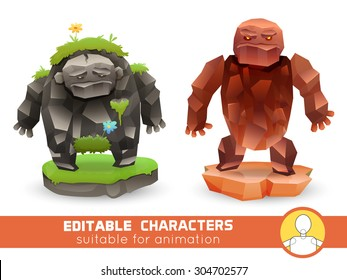 Set of cartoon rock monsters editable elemental  characters. Suitable for animation, video and games. You can change color, position of body parts, dress and size. Vector illustration