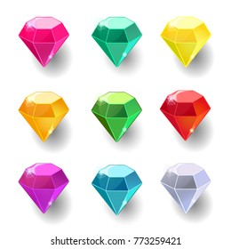 Set of cartoon round different color crystals, gemstones, gems,diamonds vector gui assets collection for game design isolated on white background. Gui elements, vector assets. Menu for mobile games