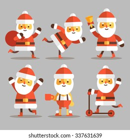 Set of cartoon Santa Clauses in a flat style. Santa set 2