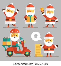 Set of cartoon Santa Clauses in a flat style. Santa set 3