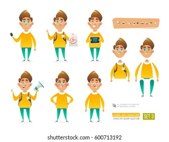 Set of Cartoon School Boy Character for your scenes design and animation.  Pupil character in different poses isolated on white background. Schoolboy holding phone, tablet, bullhorn