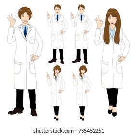 Set Cartoon Scientist People isolated on White Background. Vector Illustration.