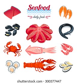 Set of cartoon sea food - tuna, salmon, clams, crab, lobster and so. Vector illustration, isolated on white, eps 10.