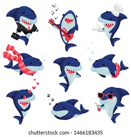 Set of cartoon sharks. Vector illustration on white background.