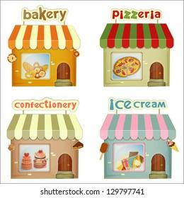 Set of Cartoon Shops. Bakery, Pizzeria, Confectionery, Ice Cream Shop Isolated on White Background. Vector Illustration.