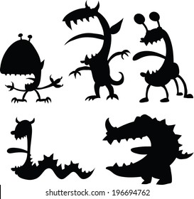 A set of cartoon silhouettes of monsters.