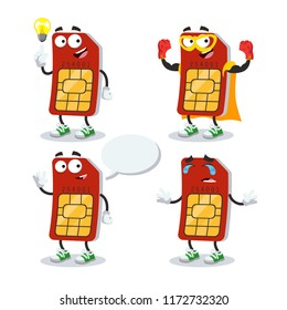 set of cartoon sim card character mascot on white background