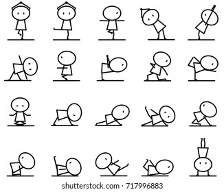 Set of Cartoon simple line character in variety action of Yoga exercise pose concept for vector graphic design
