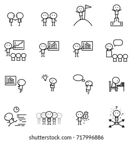 Set of Cartoon simple line character in variety action of Business idea concept for vector graphic design