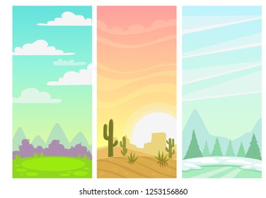 Set of cartoon simple nature vertical landscapes. Green meadow, hills and cloudscape, vector illustration. Sunset in the wild west desert. Winter outdoor background with ice, snow and spruces.