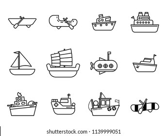 Set of Cartoon simple outline boat in the water icon concept for vector graphic design