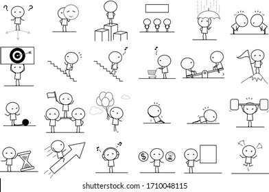 Set of Cartoon simple outline variety action in Business concept for vector graphic design