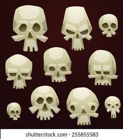 Set of Cartoon Skulls, vector