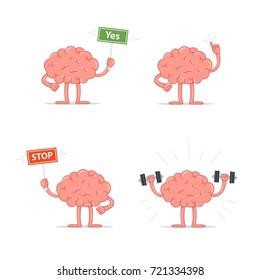 Set of cartoon smart brain. Vector illustration brain isolated on white background.
