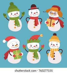 Set of cartoon snowmen. Set of New Year characters in warm hats and scarves