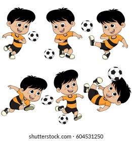 Set of cartoon soccer kid.Vector and illustration.
