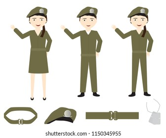 Set of cartoon soldiers with green uniforms, belts, hat and identity tag on White background
