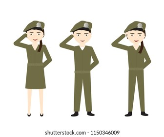 Set of cartoon soldiers with green uniforms saluting on White background