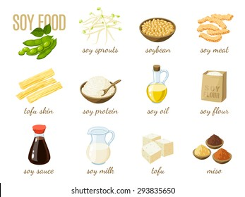 Set of cartoon soy food - milk, sauce, meat, tofu, miso and so. Vector illustration, isolated on white, eps 10.
